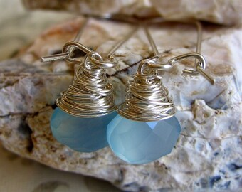 FREE SHIPPING - Cornflower Blue Wrapped Briolette Drops