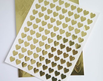 Mini Gold Heart Stickers | Laser Printable Gold Foil Heart Labels for Wedding Invitations, Scrapbooking, Packaging