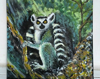A cute Lemur on a branch at night acrylic painting approx 20 x 20 on canvas