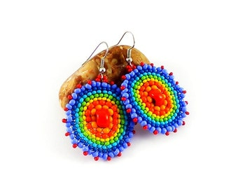 Statement Jewelry Rainbow earrings Hoop earrings Beaded earrings Colorful earrings Round earrings Circle earrings Hippie earrings Rainbow