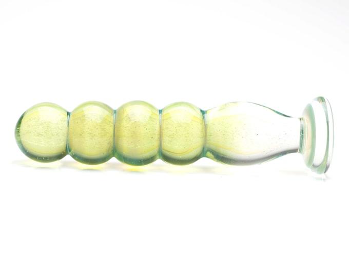Glass Dildo - Wispy Sparkle Green
