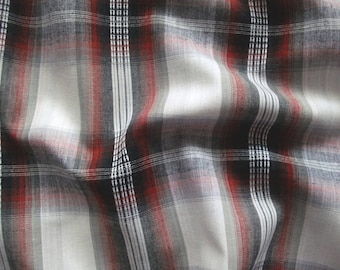 Cotton fabric checkered V2206 in white-red-grey-black