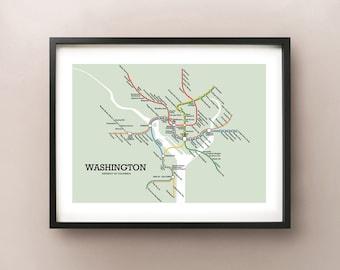 Washington Metro Subway Style Map Art Print