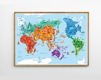 Kids world map etsy wonder world a2 b2 illustrated world map kids room kids world map gumiabroncs Image collections