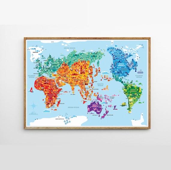Wonder world a2 b2 illustrated world map kids room kids wonder world a2 b2 illustrated world map kids room kids world map world map nursery kids map kid world map kid room decor gumiabroncs Gallery