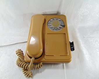 Vintage Light Brown Rotary Dial Phone by Northern Telecom, 1970's, with pen holder- in working condition