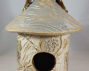 Pottery Handmade Birdhouse Decorative Indoors Outdoors Bird House Garden or Home Decor Gray and Taupe Owls