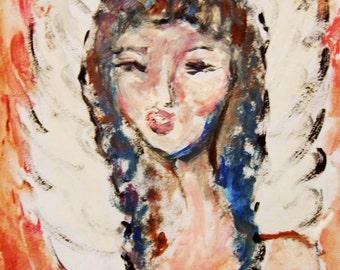 Angel Acrylic Painting on Paper, Original Painting, Guardian Angel, Angel Art, Spiritual Painting
