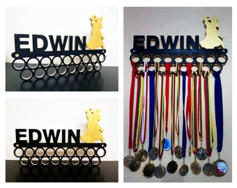 Personalized Wooden Dancing Medal Holder Display. 17.3 in Wall decor Dancer accessories Bedroom decor