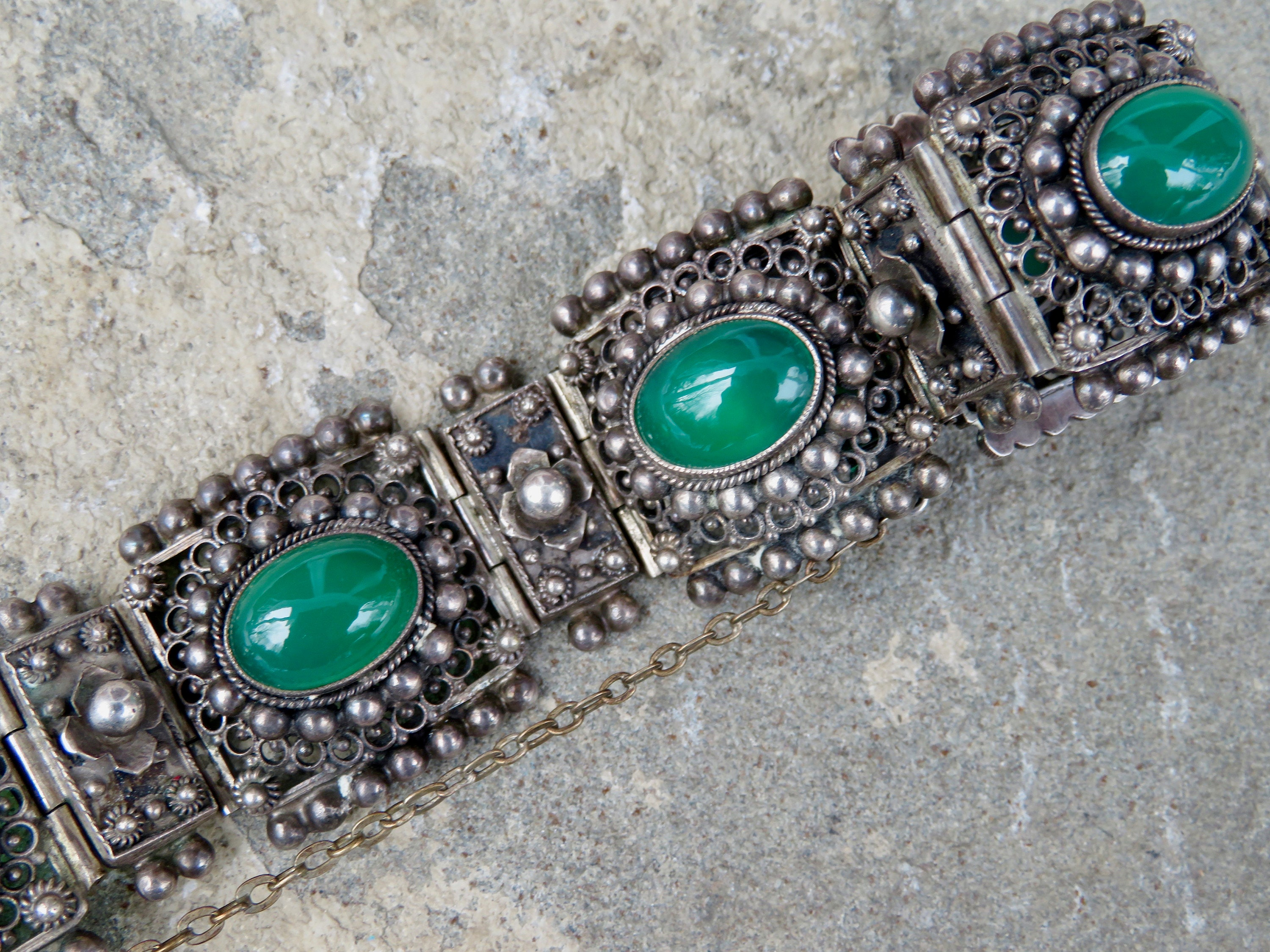 stone quartz pin bracelet green healing jewelry and jade
