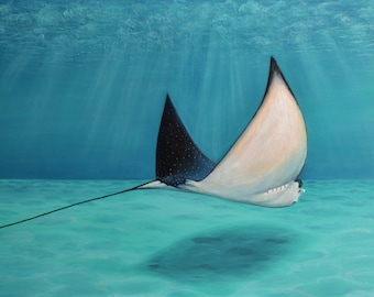 Spotted Stingray Painting Acrylic on Gallery Wrapped Canvas 48x60 inches