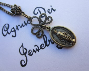 Miraculous Medal Necklace, Bronze Style, Our Blessed Mother Medal, Catholic Confirmation Gift