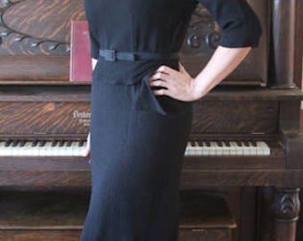 1950's Vintage Belted Black Wiggle Dress by Marita 'D with Side Metal Zipper