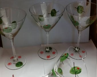 Martini glasses hand painted set of four