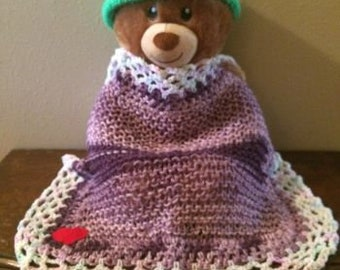 Ombre Purple Knitted Cuddle Blanket/Burp Cloth