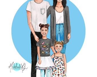 Family Digital Portrait Illustration, Custom Family illustration, Custom portrait from photo, Family portrait, Digital Download