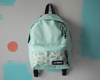 Watermelon Embroidered Mint Eastpak Orbit // Watermelon Hand Embroidery // Rucksack // Backpack // Customised Bag
