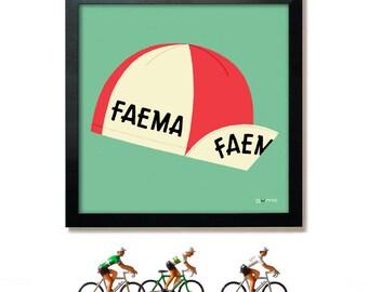 Gifts for Cyclists, Pop Art, Cycling Print, Tour de France, Cycling Cap, Faema