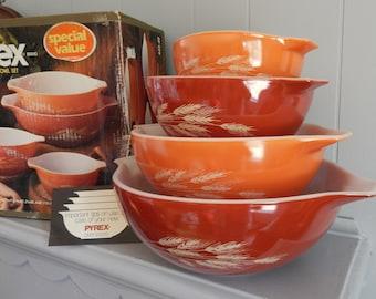 NOS Pyrex Autumn Harvest Cinderella Mixing Bowl Set / Nesting Bowls with Handles / Wheat Stalks / Wheat Harvest / Summer Grains