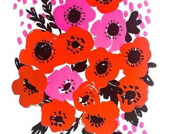 Anemone Pink Screenprint