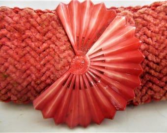 Vintage Red Plastic Fan Buckle, Cinch Belt