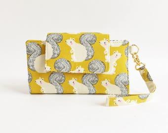 Little Hercules Cell Phone Wallet/Clutch/Phone Case/Vegan Wallet/Fabric Wallet/Animal Print/Squirrel
