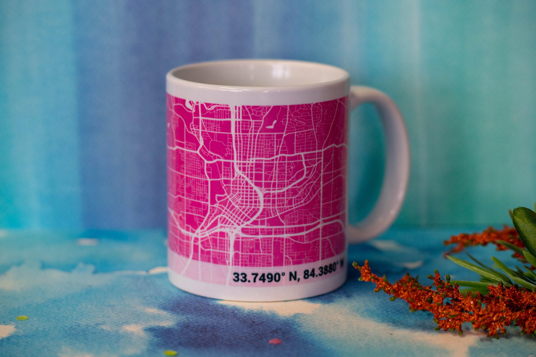 Personalized PINK city map Mug custom gift personalized