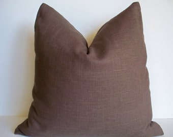 SALE Solid Brown Linen Decorative Pillow Cover