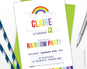Rainbow Party Invitation - Art Party Invitation - PRINTABLE JPEG or PDF file