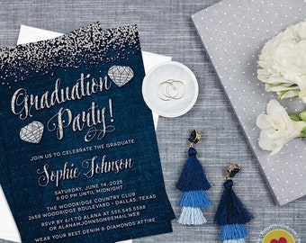 Denim & Diamonds Graduation Party Invitations - Printable Graduation Party Invitation - Jeans and Jewels Invitations - Digital File