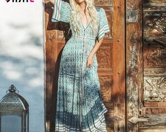 Gypsy dress boho oracle print maxi dress ruffled hem casual beach dress summer dress 2018