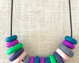 Purple, green and grey handmade polymer clay chunky necklace, 60cm rubber cord with breakaway clasp