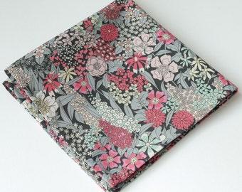 Mens floral pocket square - Liberty pocket square Ciara - grey and pink pocket square - cotton handkerchief