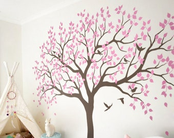 Large Tree Wall Decals Trees Decal Nursery Tree Wall Decals, Pink girly tree, Vinyl Wall Decal - MM001