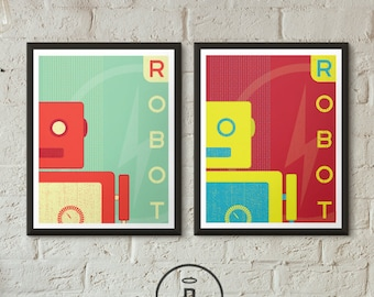 Retro Robot Art Print Boys Room Decor Vintage 1950's Bold Minimal Graphic Posters