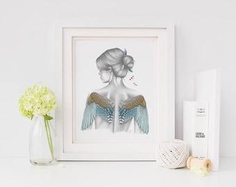 A4 & A3 Angel Illustration Print - Sofiel