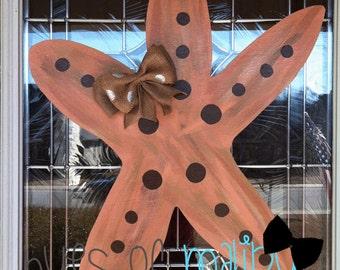 Beach Starfish Wooden Door Hanger