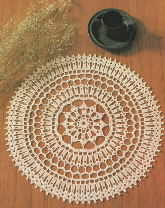 Doily Crochet Pattern Pdf Round Table Mat Circular Placemat