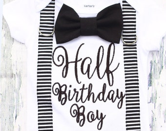 Baby Boy half birthday onesie with matching suspenders and bow tie set, 1/2 Birthday baby boy onesie, Baby boy birthday outfit