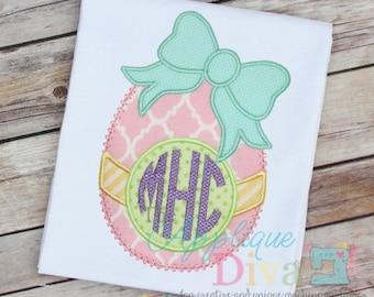Easter Big Bow Monogram Egg Digital Embroidery Design Machine Applique