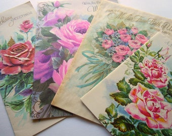 Vintage Pretty Pastel Pink Roses Flowers Floral Greeting Cards Lot