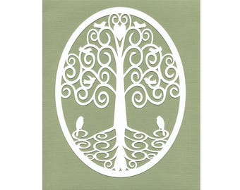 Tree of Life Wall Art Paper Cut Art white green 8X10 birds heart unframed
