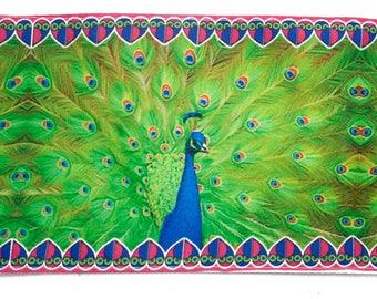 Ribbon Indian Peacock Green Pink Blue 8.5 cm x 50 cm