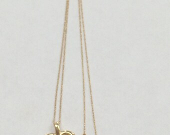 """PRETTY 14K Yellow Gold 19"""" Pearl Heart Necklace"""