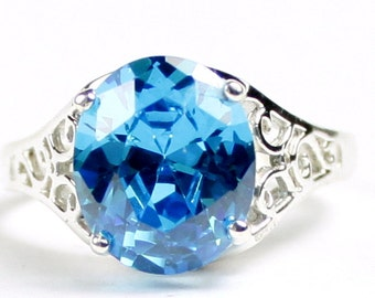 Swiss Blue CZ, 925 Sterling Silver Ring, SR057