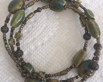 Olive Glass Beaded with Antique Bronze Metal Wrapped Bracelet