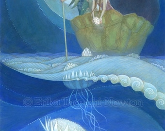"Girl and Boy with Bear Art, 9x12 Flower Jellyfish Painting, Waves and Moon Art Print, ""Moondrops"""
