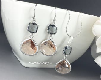 Bridesmaid Gift Bridesmaid Jewelry Gray and Peach Necklace Set Gray Earrings Maid of Honor Gift Mother of Groom Gift Mother of Bride Wedding