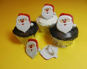 12 Santa Claus Face Christmas Cupcake Rings Toppers Party Favors Cake Decorations