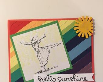 Handmade Rainbow Hello Sunshine Card